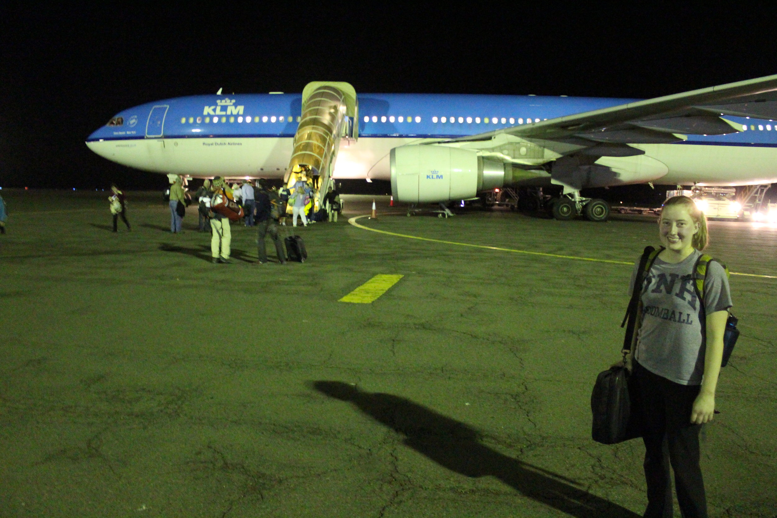Getting off the plane on the runway at JRO.