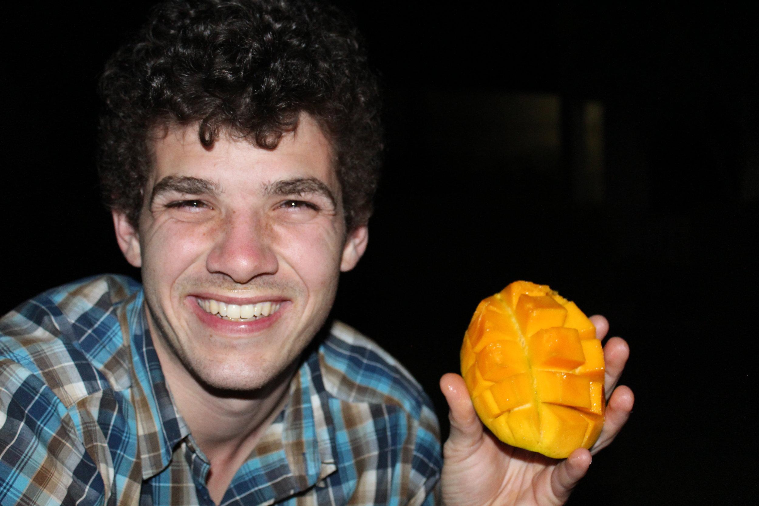 Eating our fresh mango!