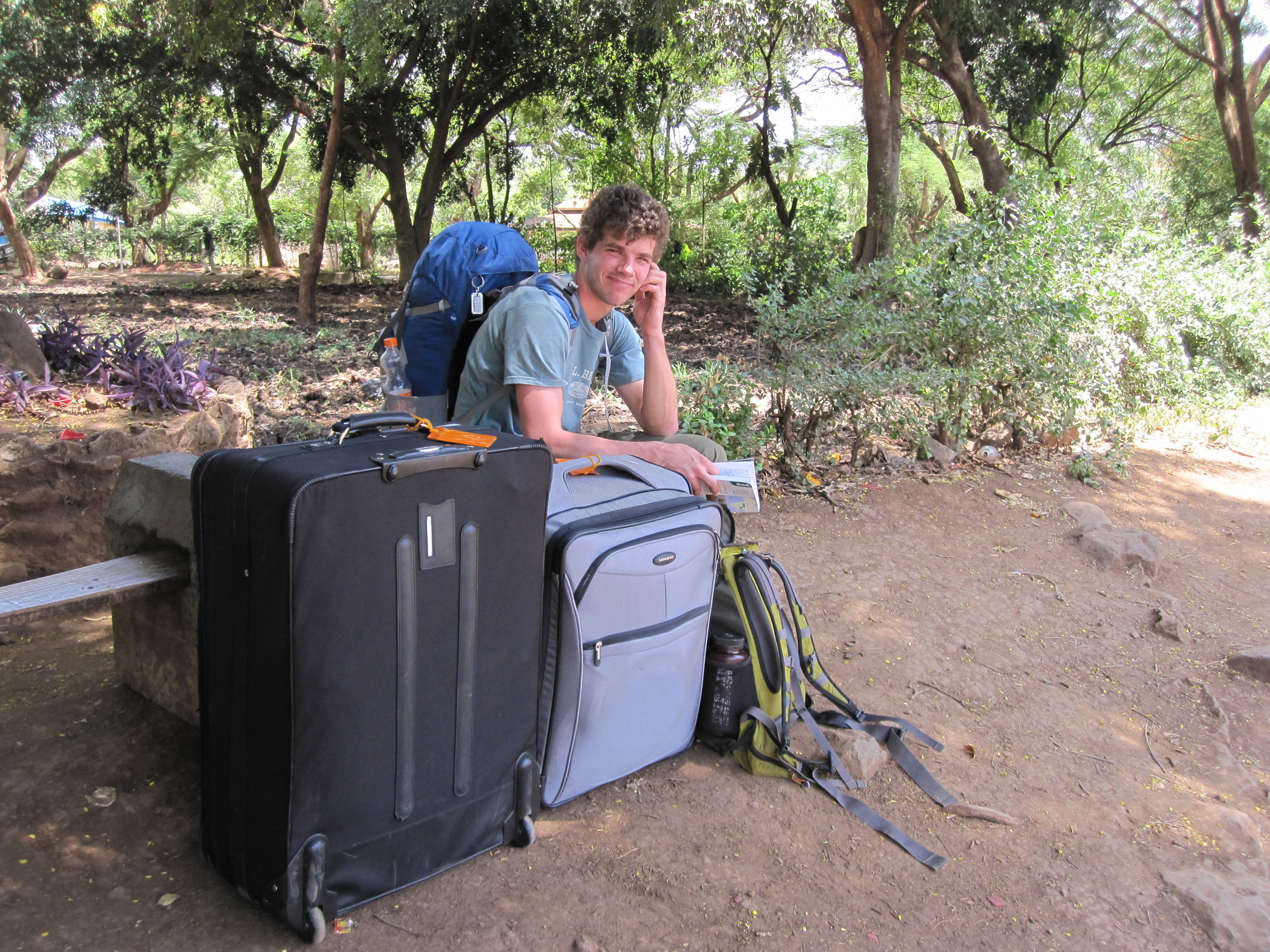 We took a bus from Arusha to Moshi, but the bus driver drove past our stop. This resulted in us towing our suitcases on the side of the road.
