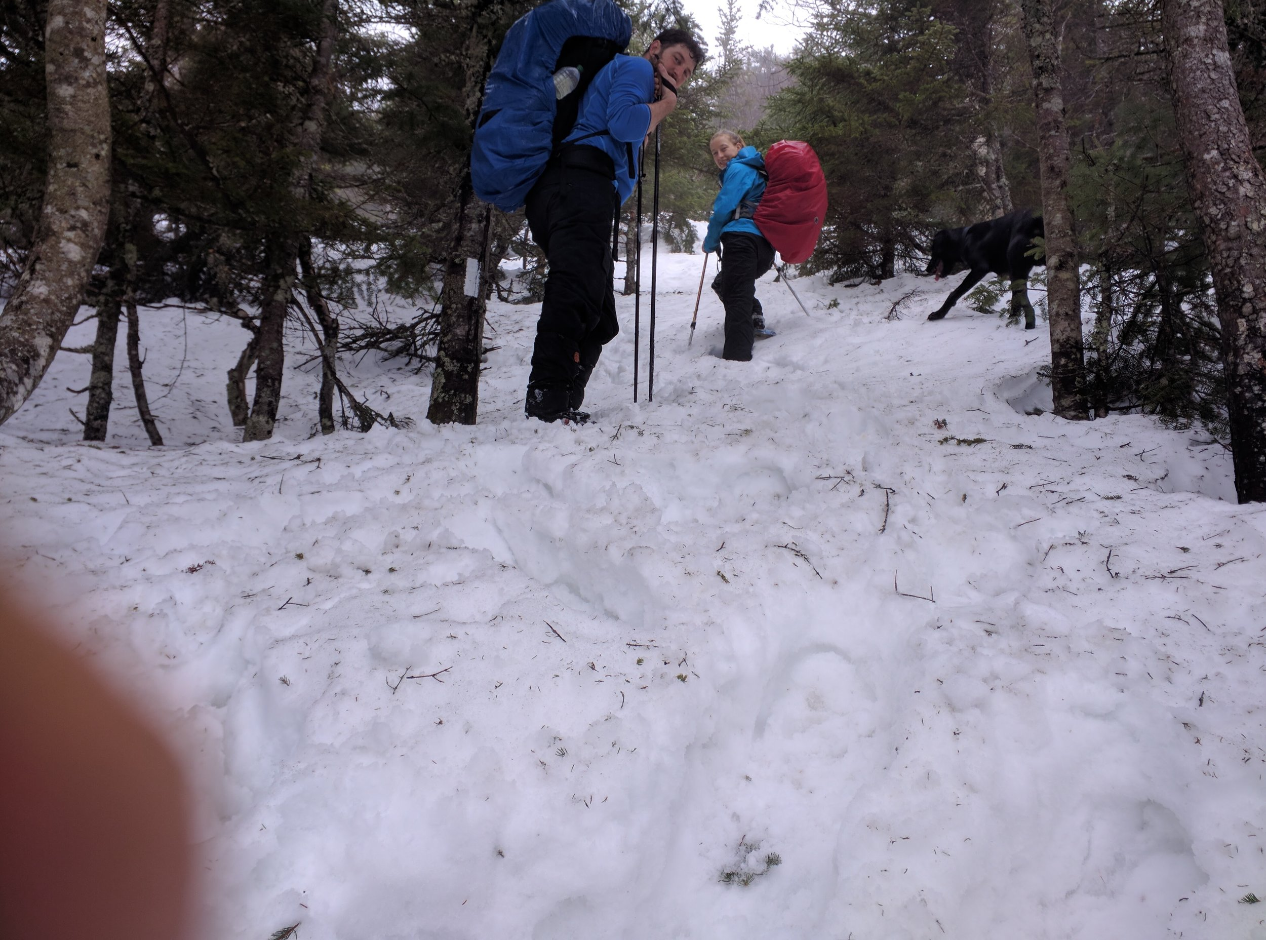 Snowshoeing up Maine's Baldpate Mountain in the winter.
