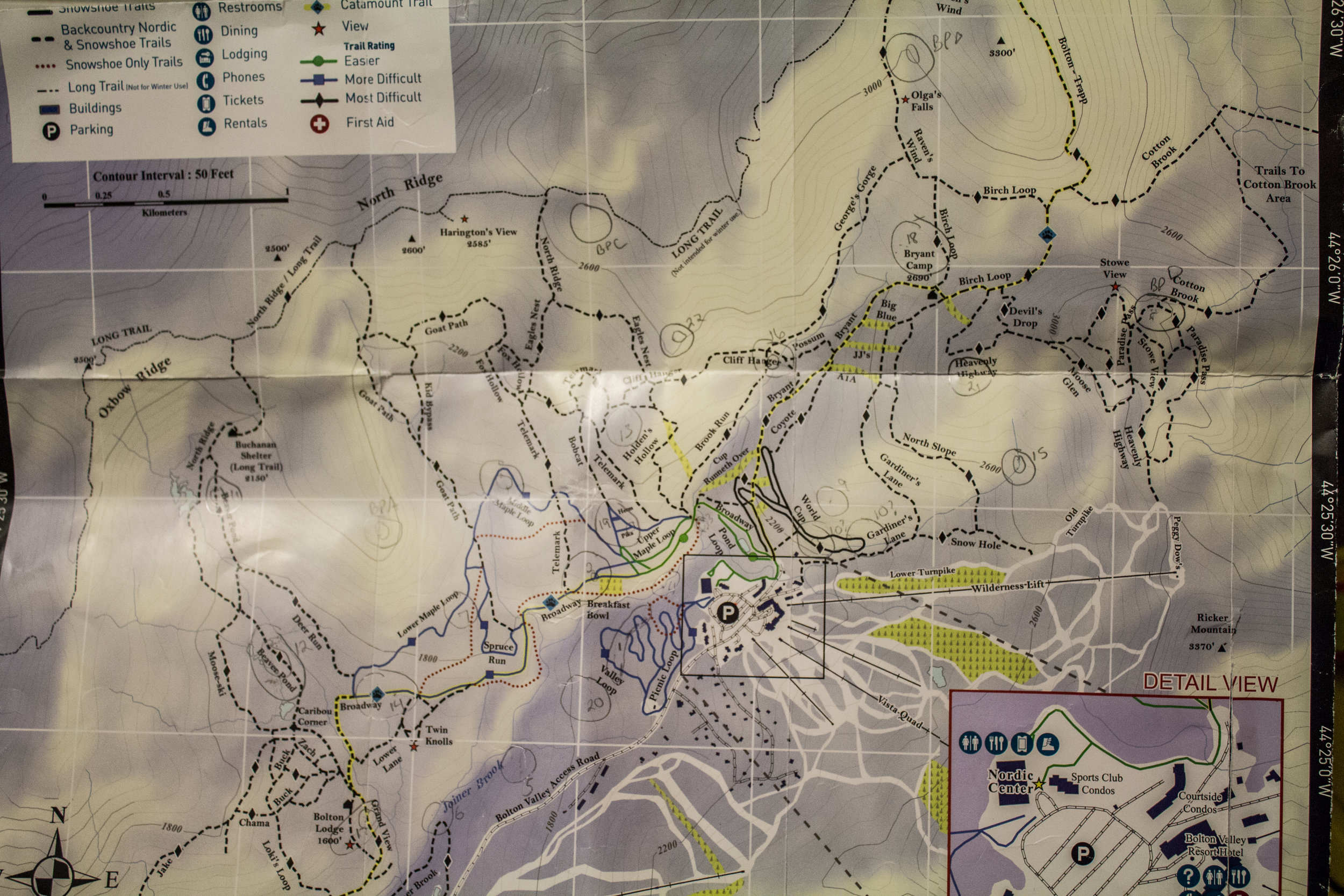 Trail map of Bolton Valley Nordic Center
