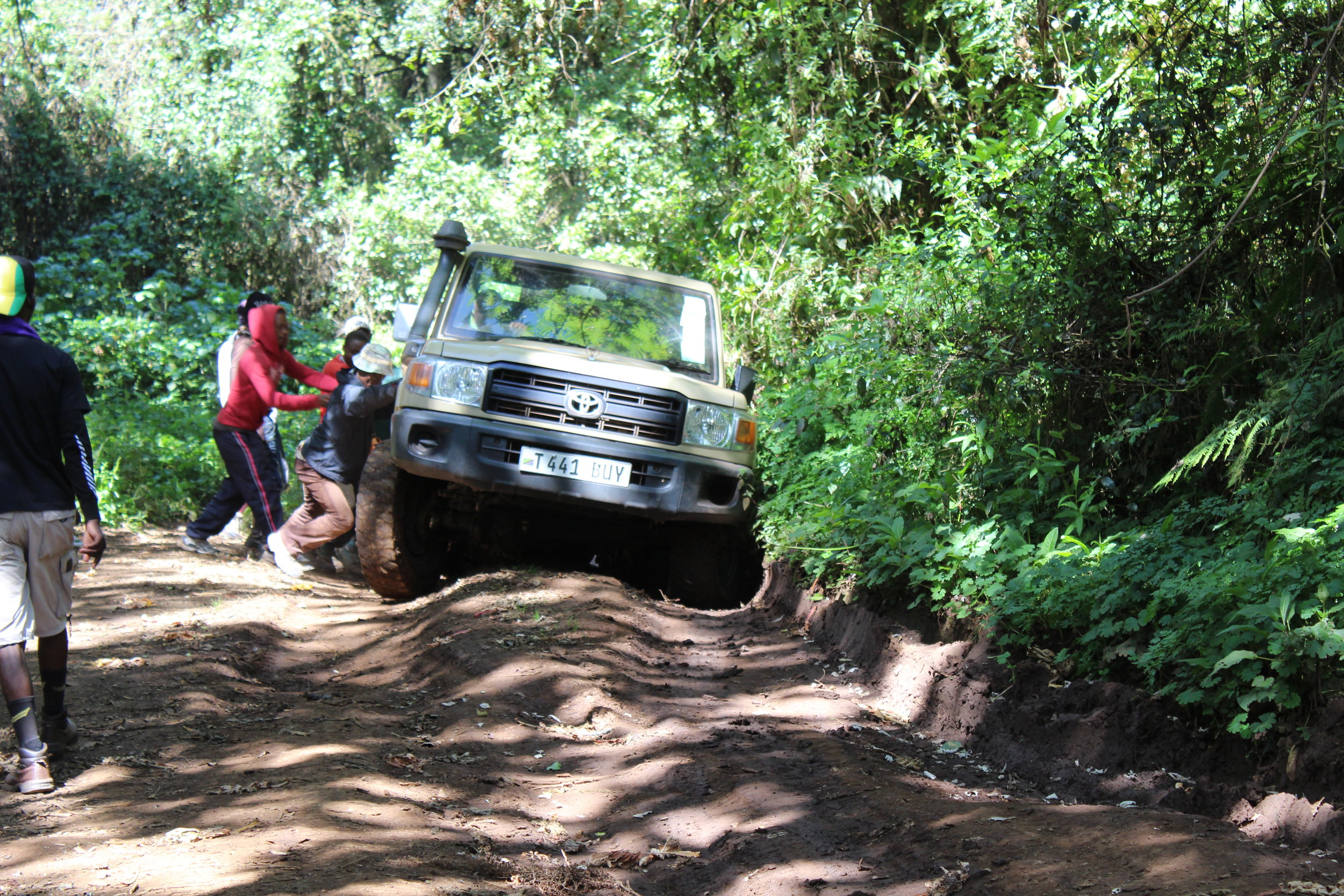 Our truck got stuck on our way to the Lemosho Gate.