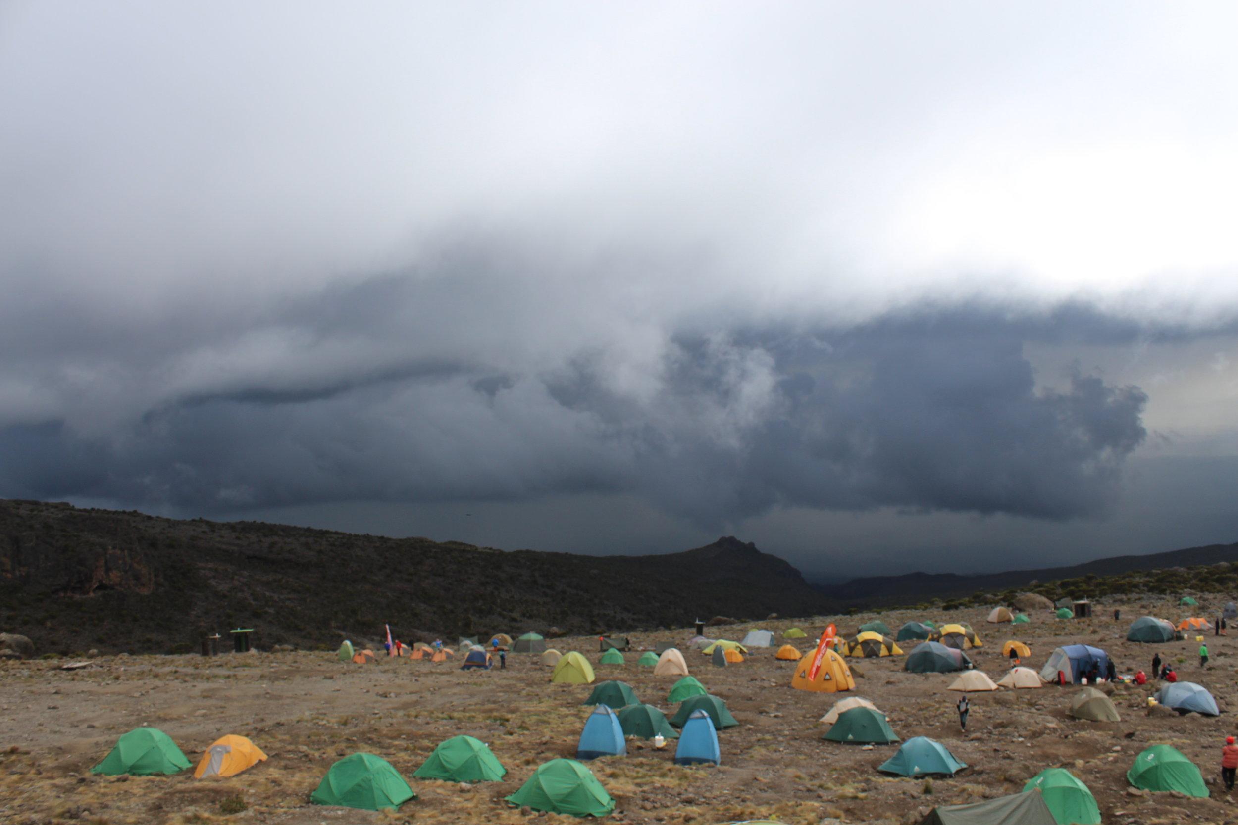 Rain clouds at Karanga Valley Camp
