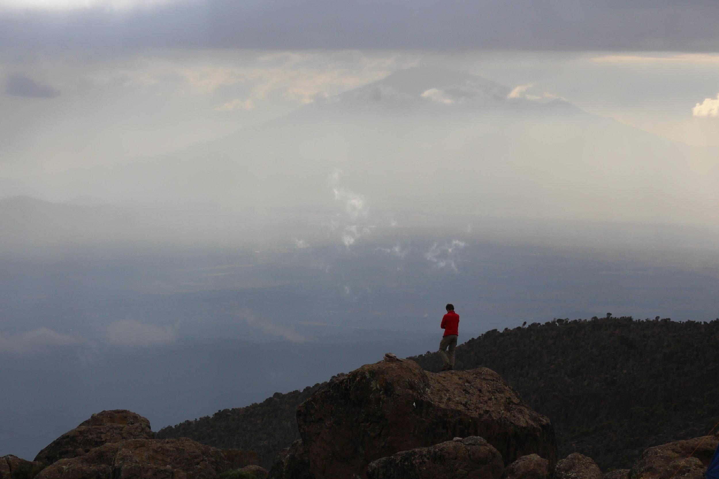 View of Mount Meru from Karanga Valley Camp