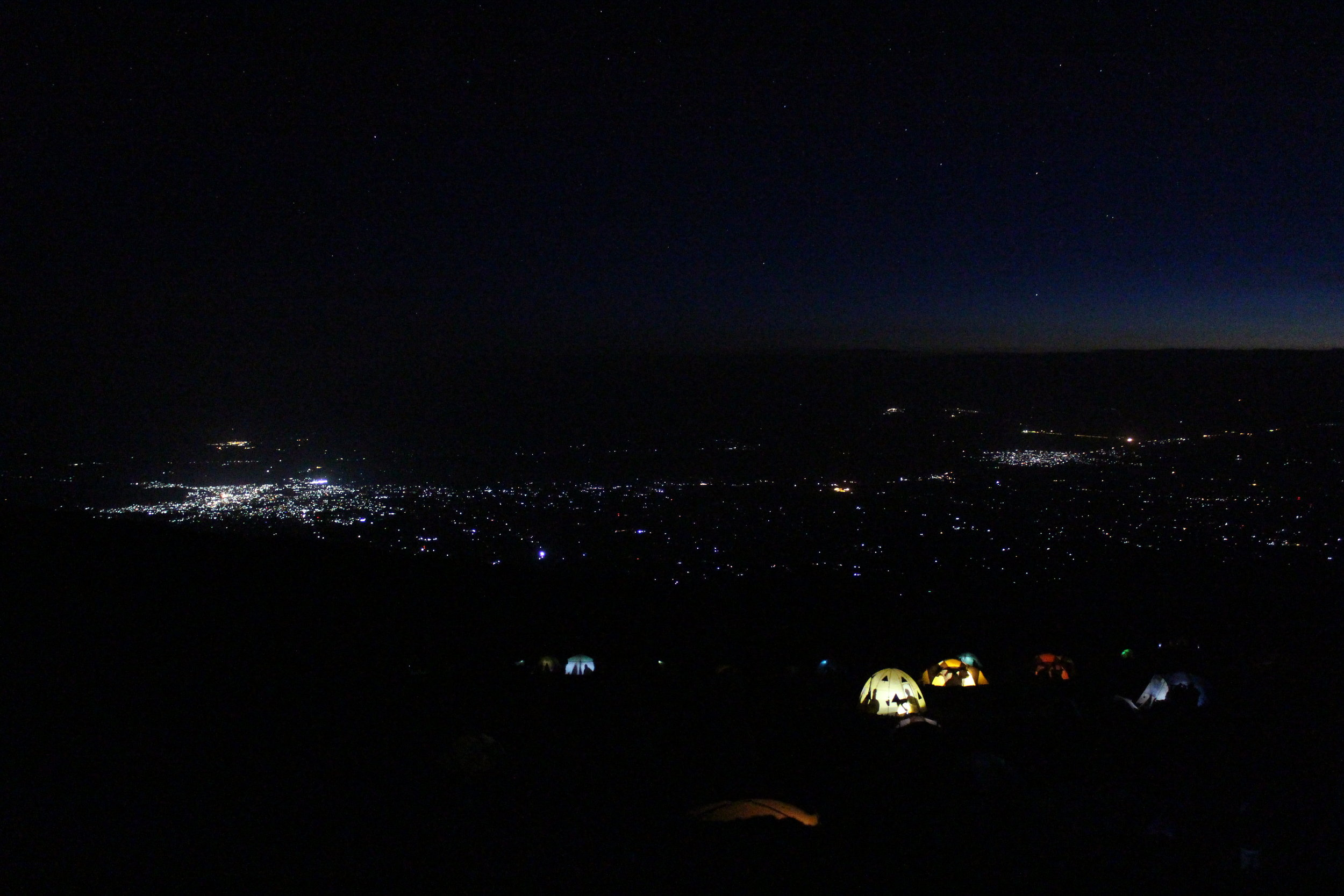Stargazing and looking at the lights of Moshi from Mount Kilimanjaro