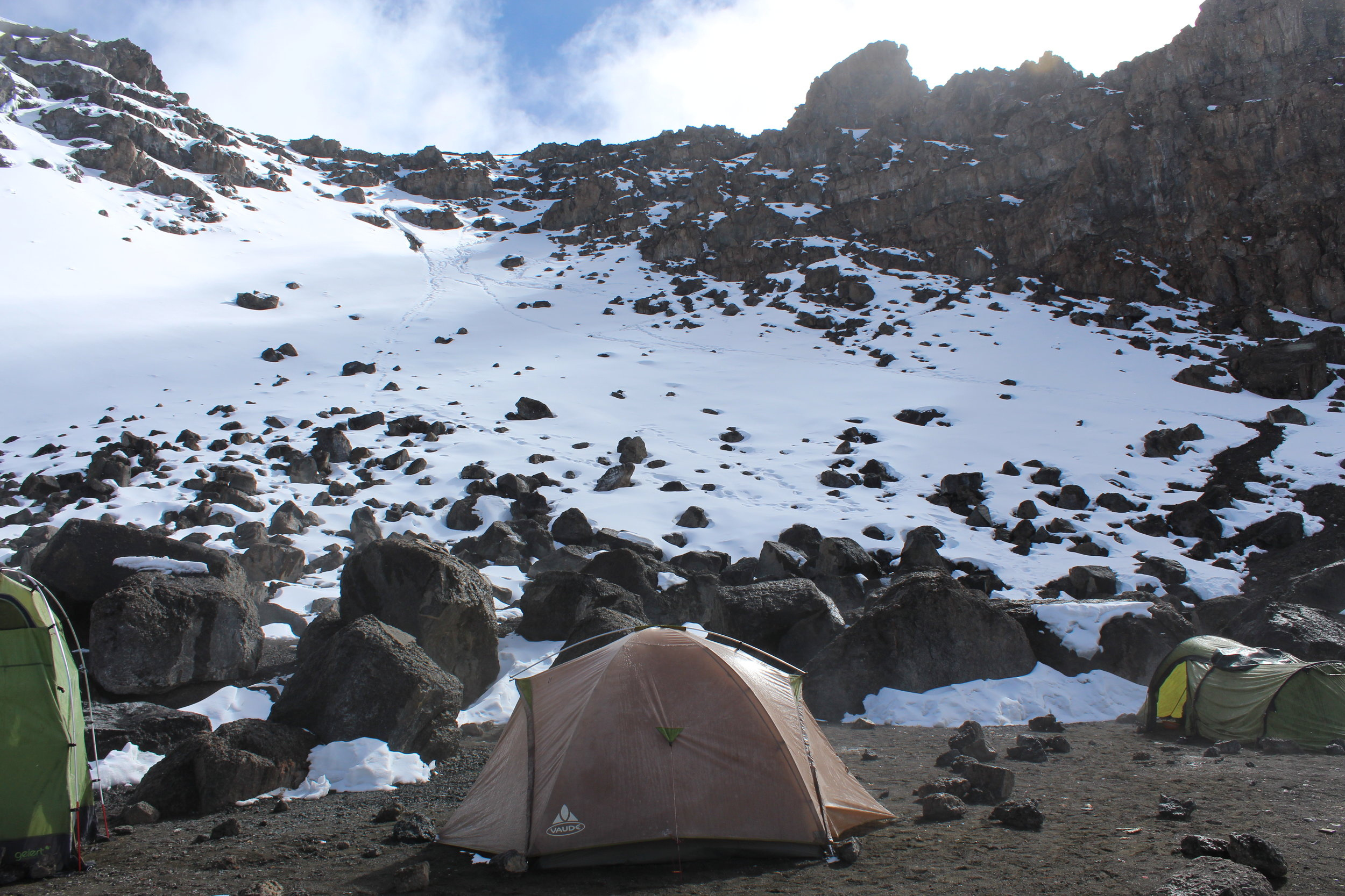 View from our tent at Crater Camp. This is looking up at where we came down from the summit.