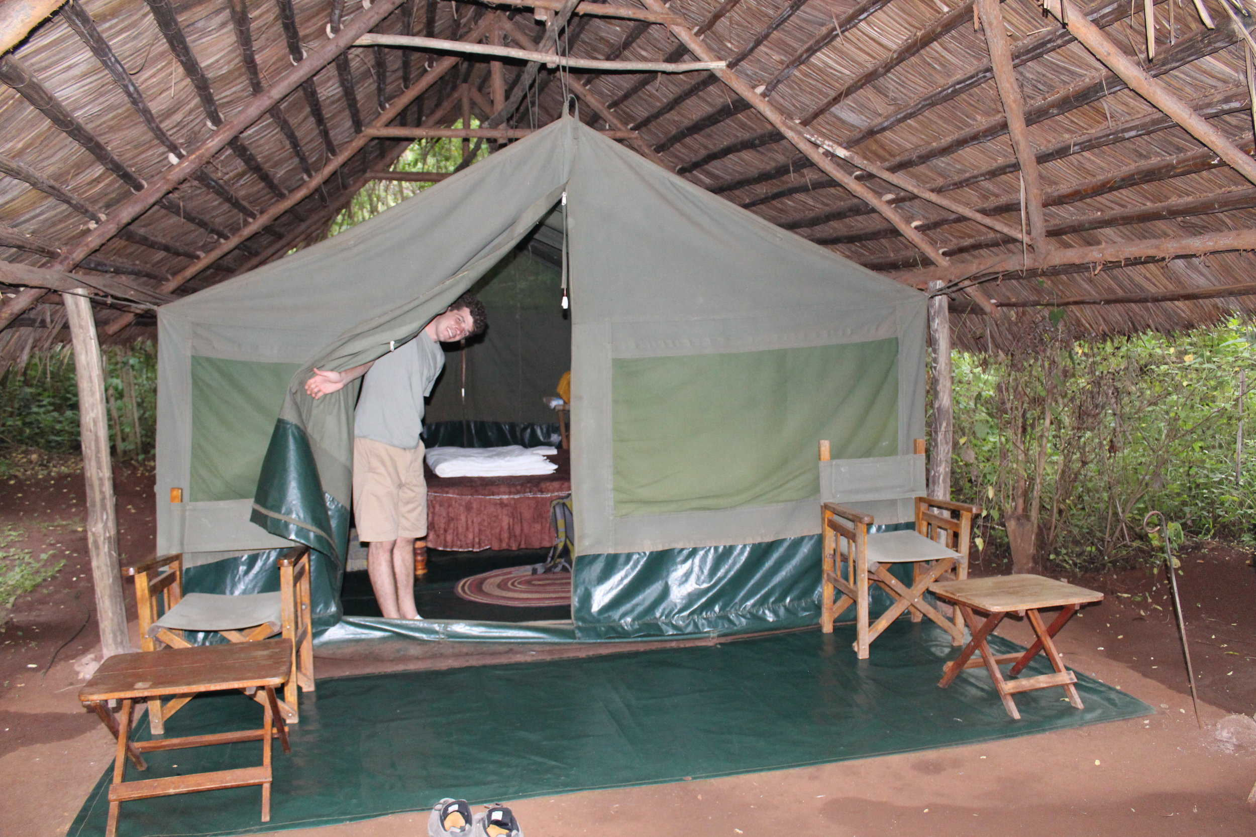 Looking at our tent at Karatu Forest Tented Camp