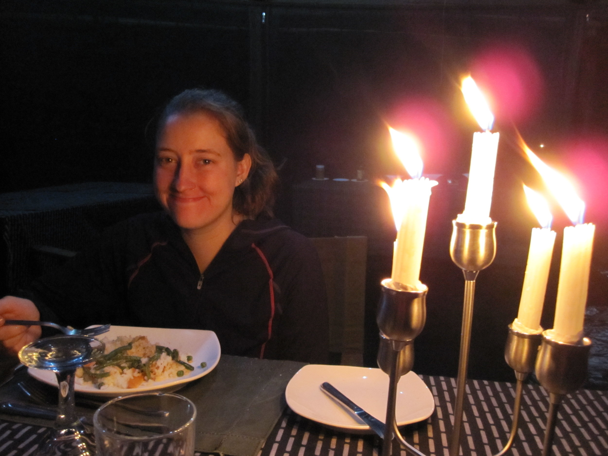 Candlelit dinner on our camping safari