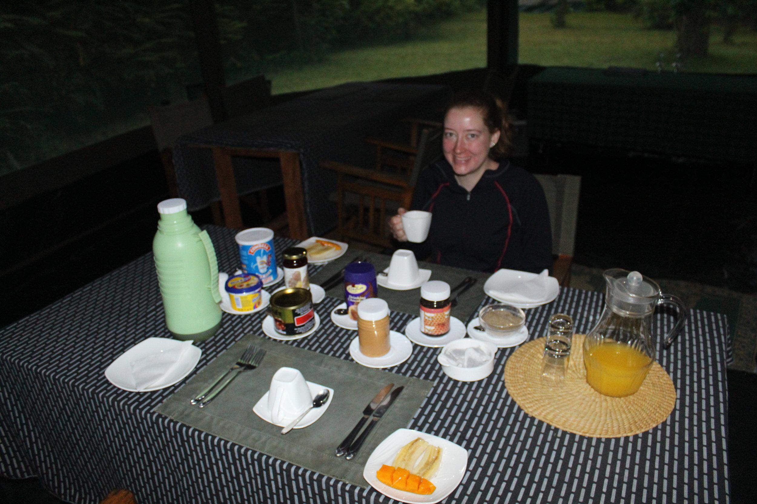 Breakfast at Karatu Forest Tented Camp
