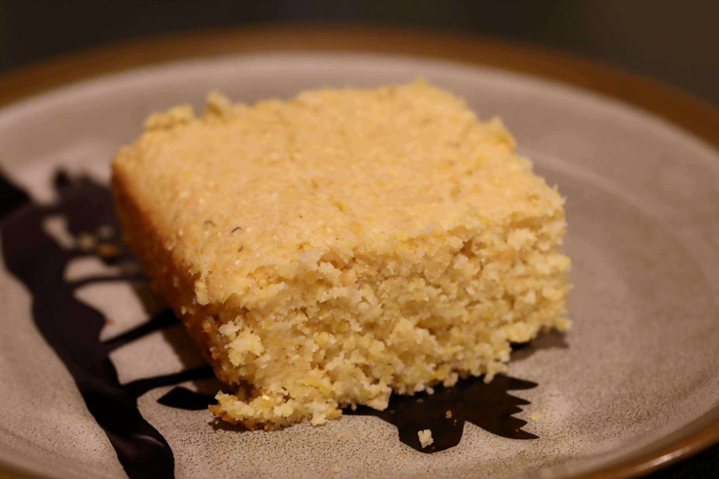 Gluten free corn bread sweetened with honey.