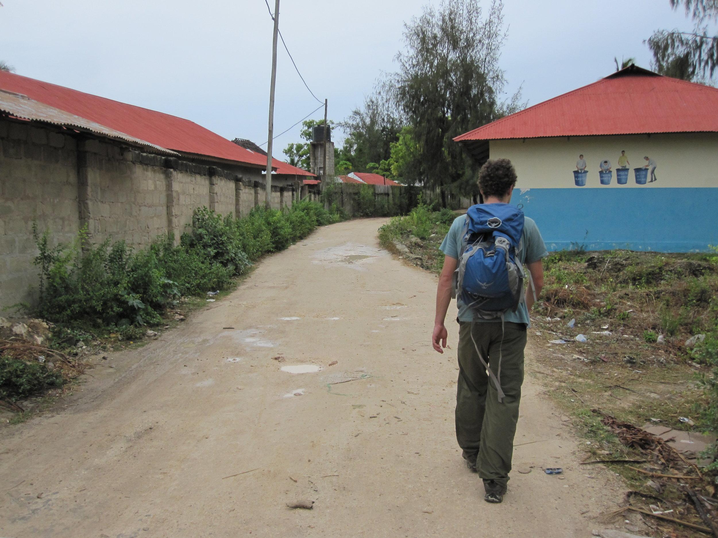 Walking through a village in Zanzibar.