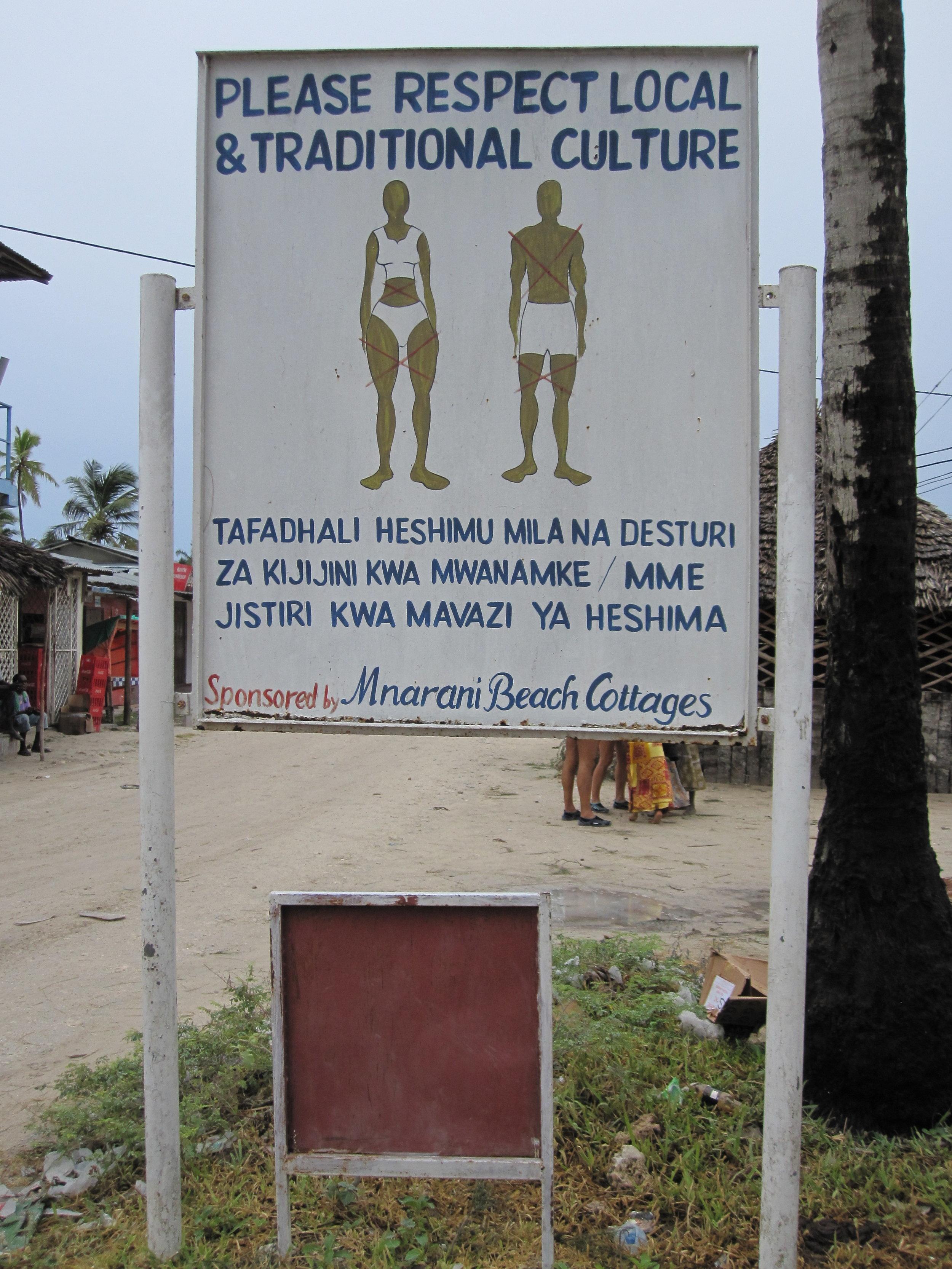 Wardrobe sign at Zanzibar discussing appropriate attire to respect their culture.