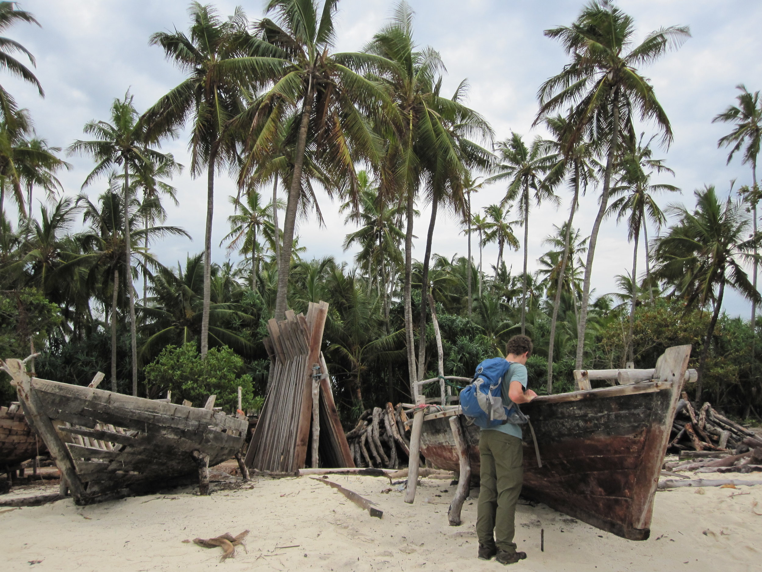 Looking at dhows being built in Zanzibar
