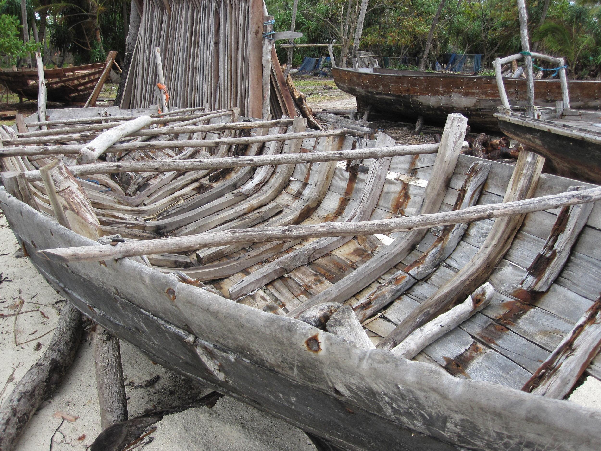 A dhow being built in Zanzibar