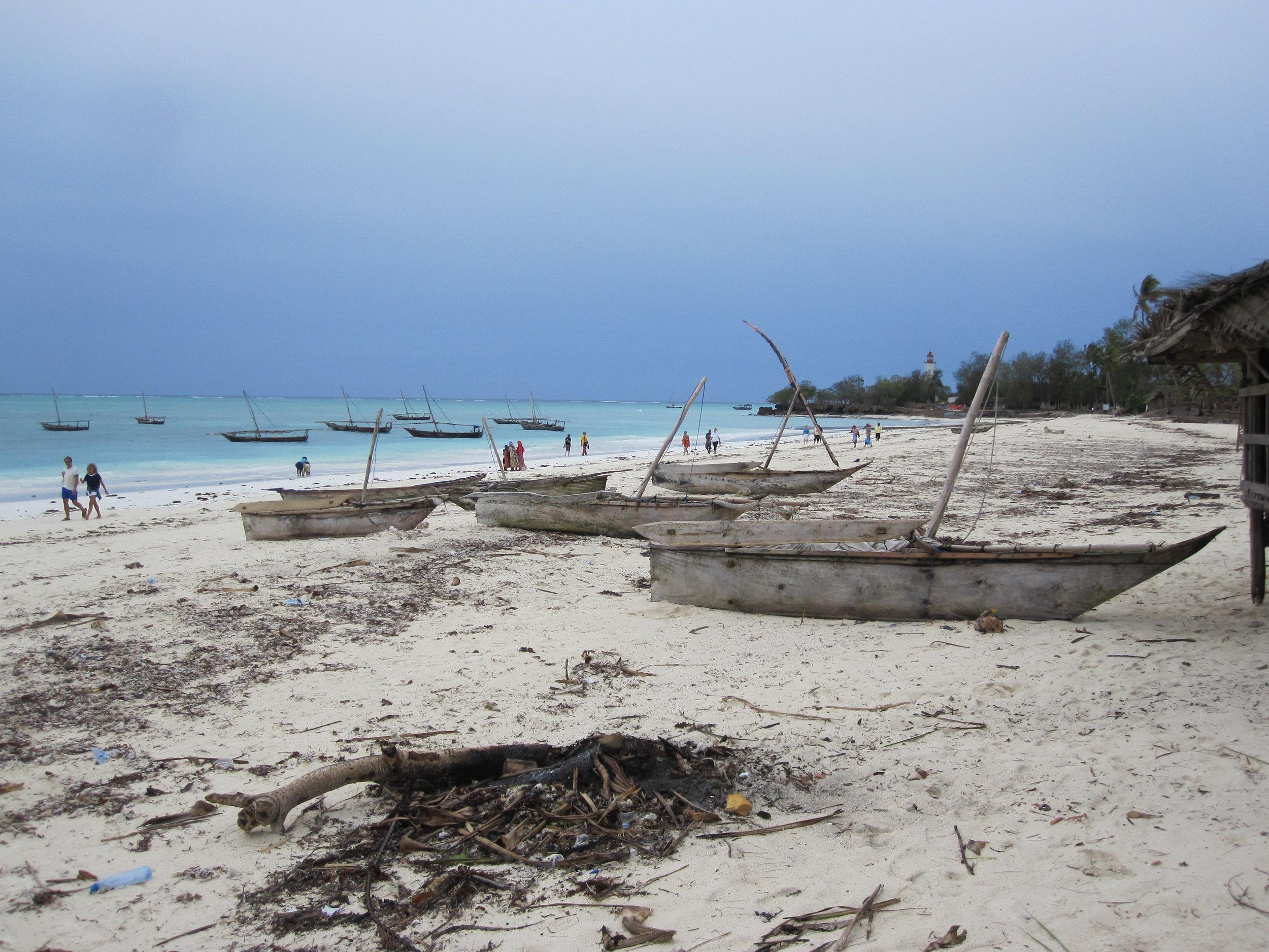 Dhows on the beach in Zanzibar