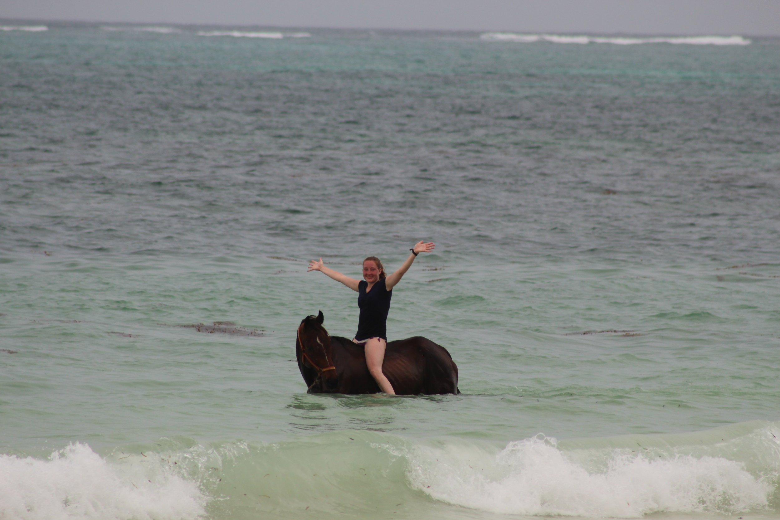 Horseback riding in the ocean in Kiwengwa, Zanzibar.