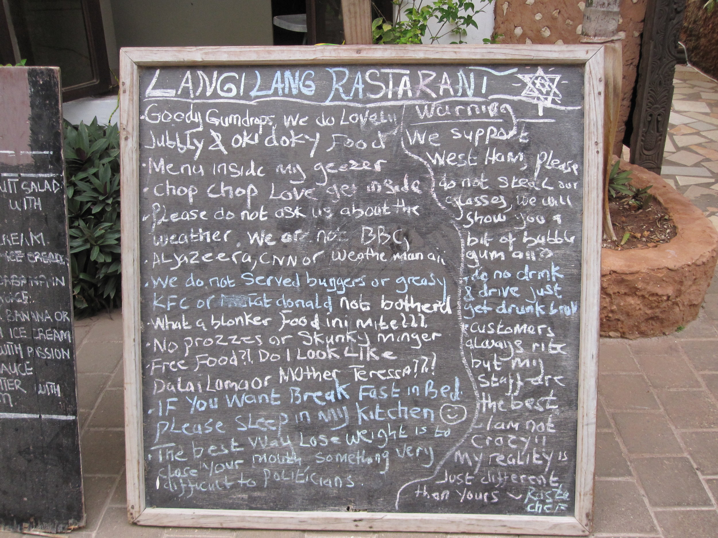 Funny sign at Langi Lang Restaurant in Zanzibar