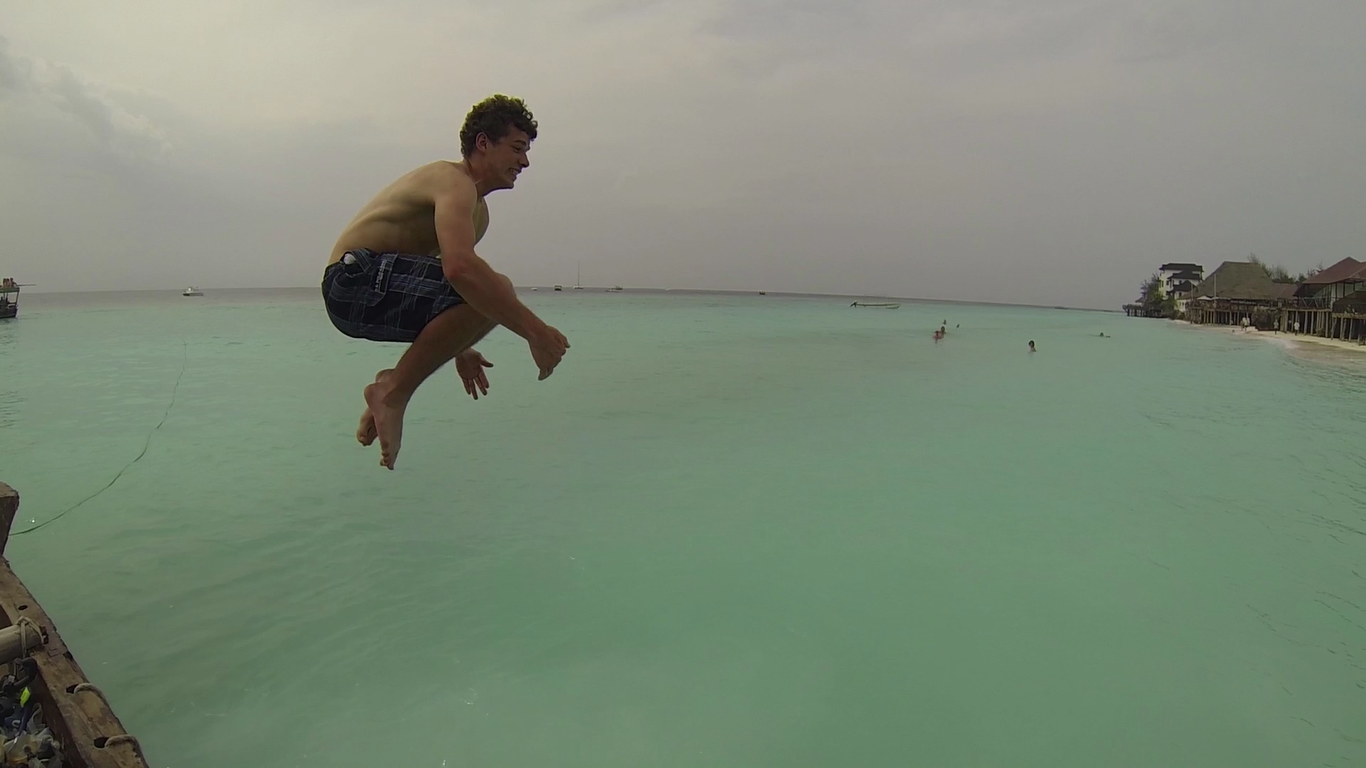 Airborne jumping in the water