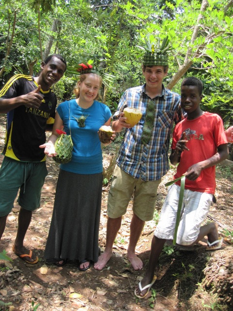 We did an awesome Spice Tour in Zanzibar, and they made us cute woven hats and jewelry!