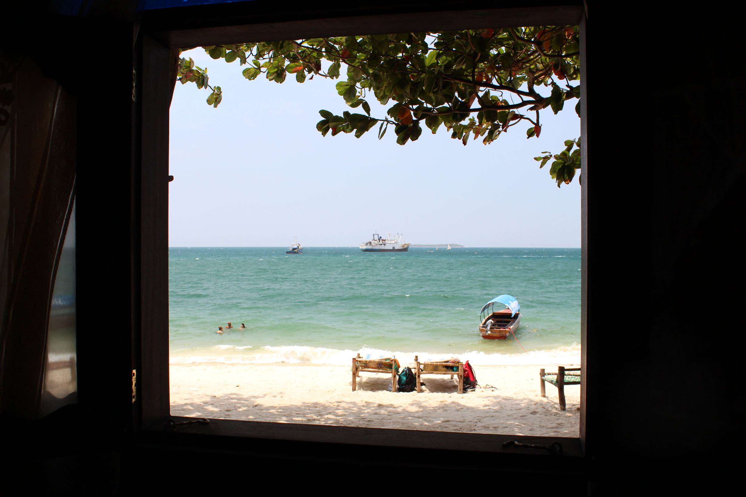 View of the ocean from our room in the Tembo Hotel in Stone Town, Zanzibar