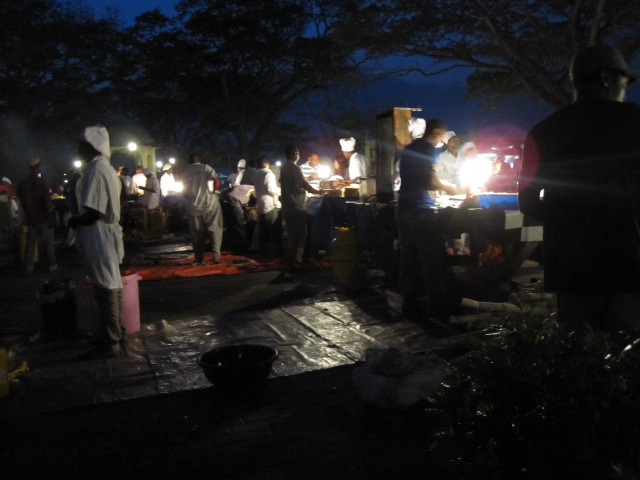 Night life at Stone Town. So much food!