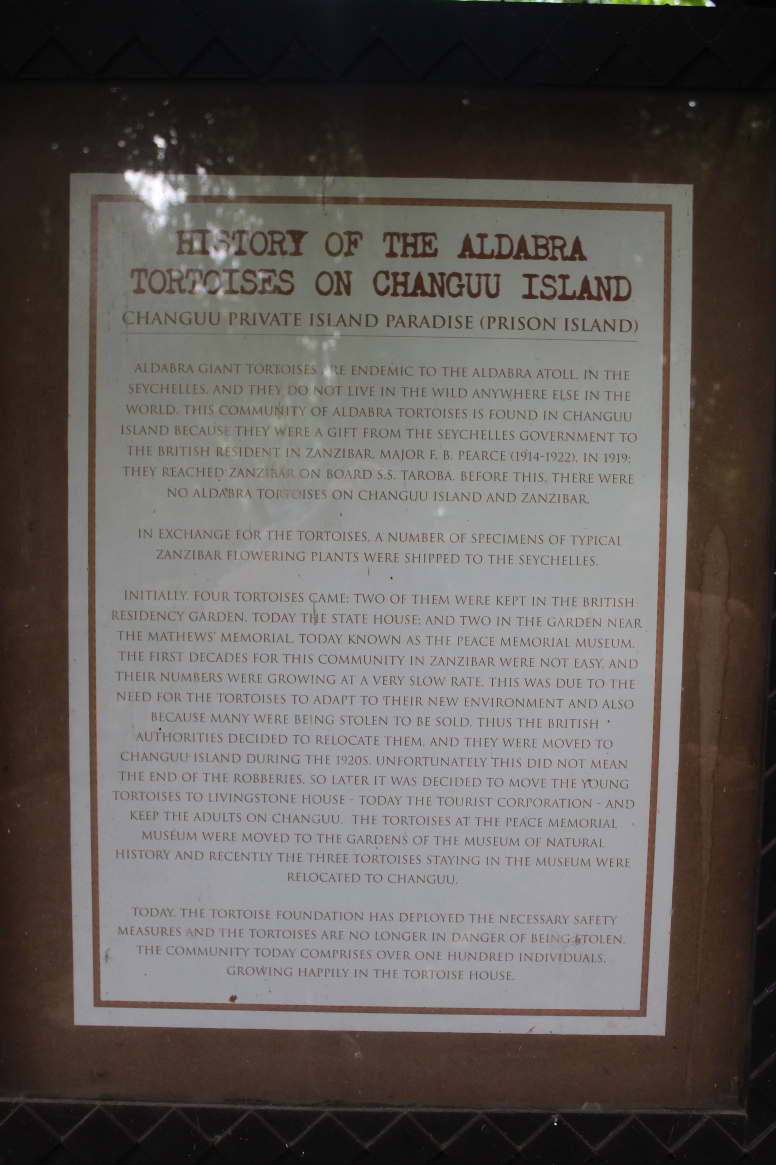 Sign describing the history of the tortoises on Changuu (Prison) Island