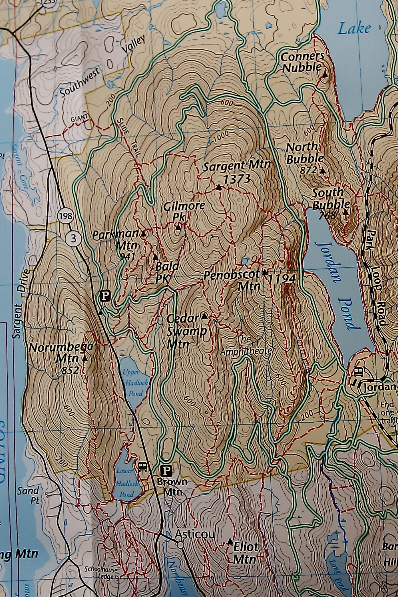 Map of Sargent Mountain
