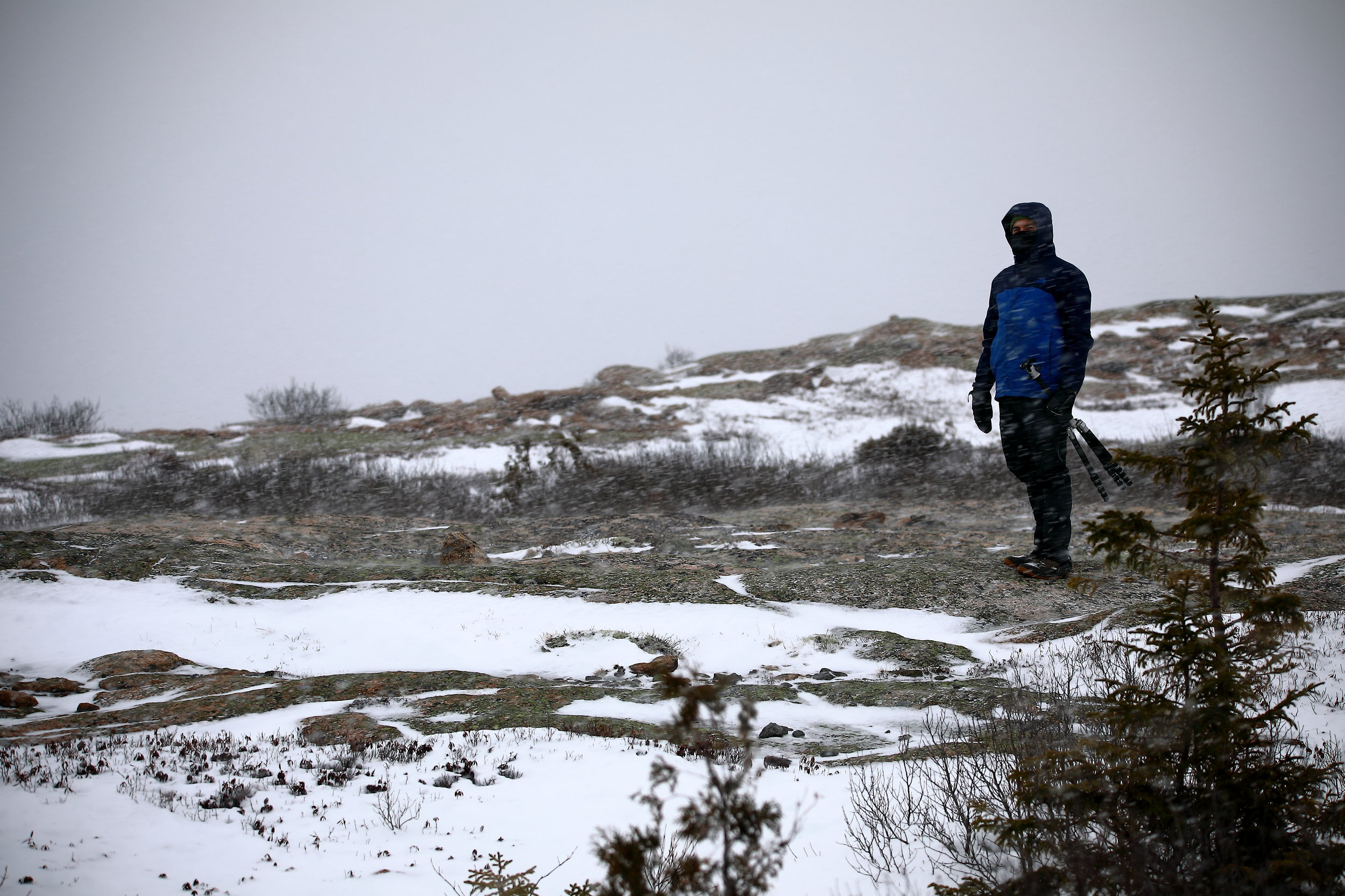 Dale braving the cold on the exposed Sargent Mountain.