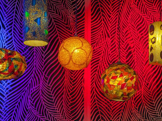 Nightclub Renovation, Palm Springs, CA - Christopher Kennedy Design  Wispy Palms, Front lit panels