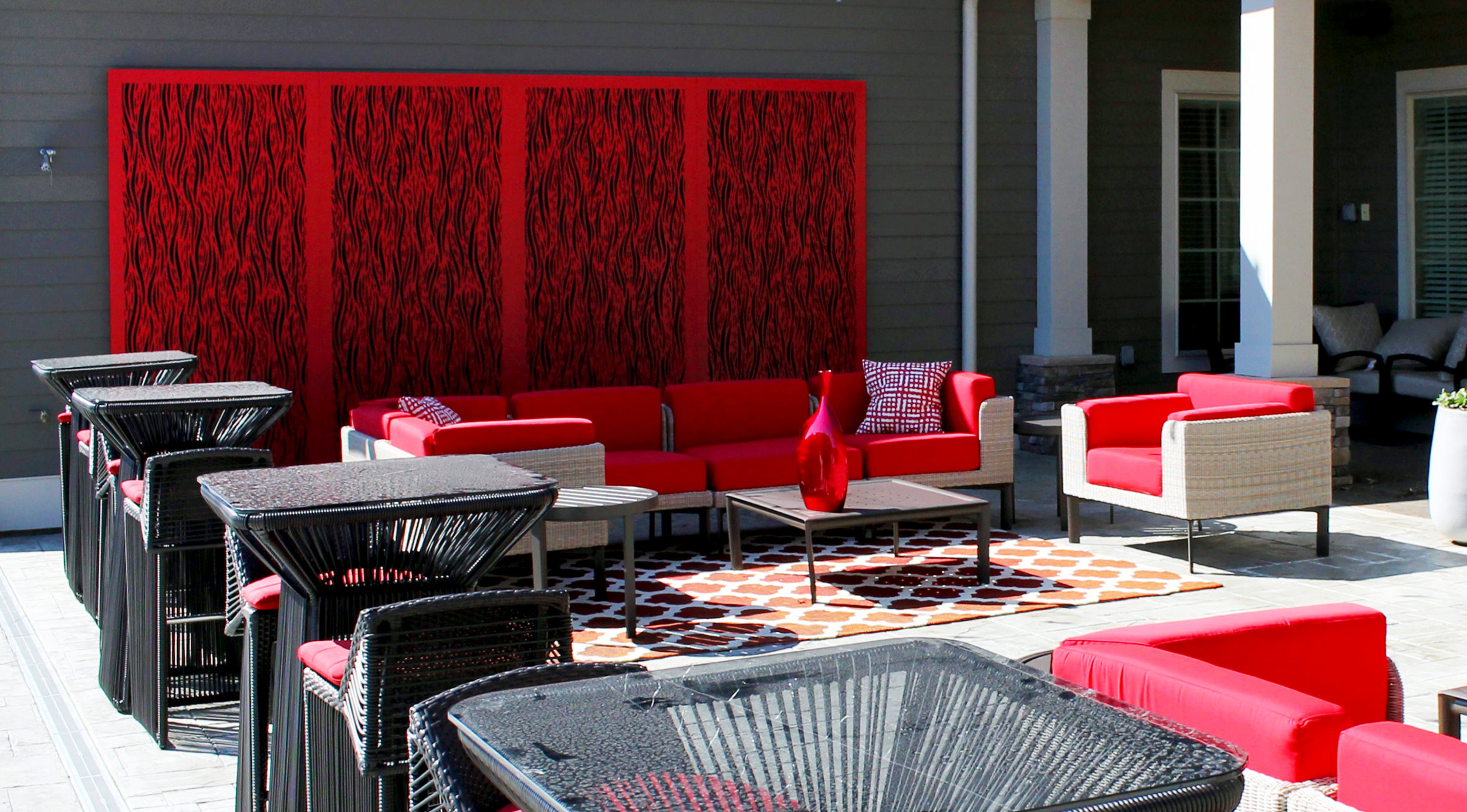 Waterfall, red painted panels - room divider