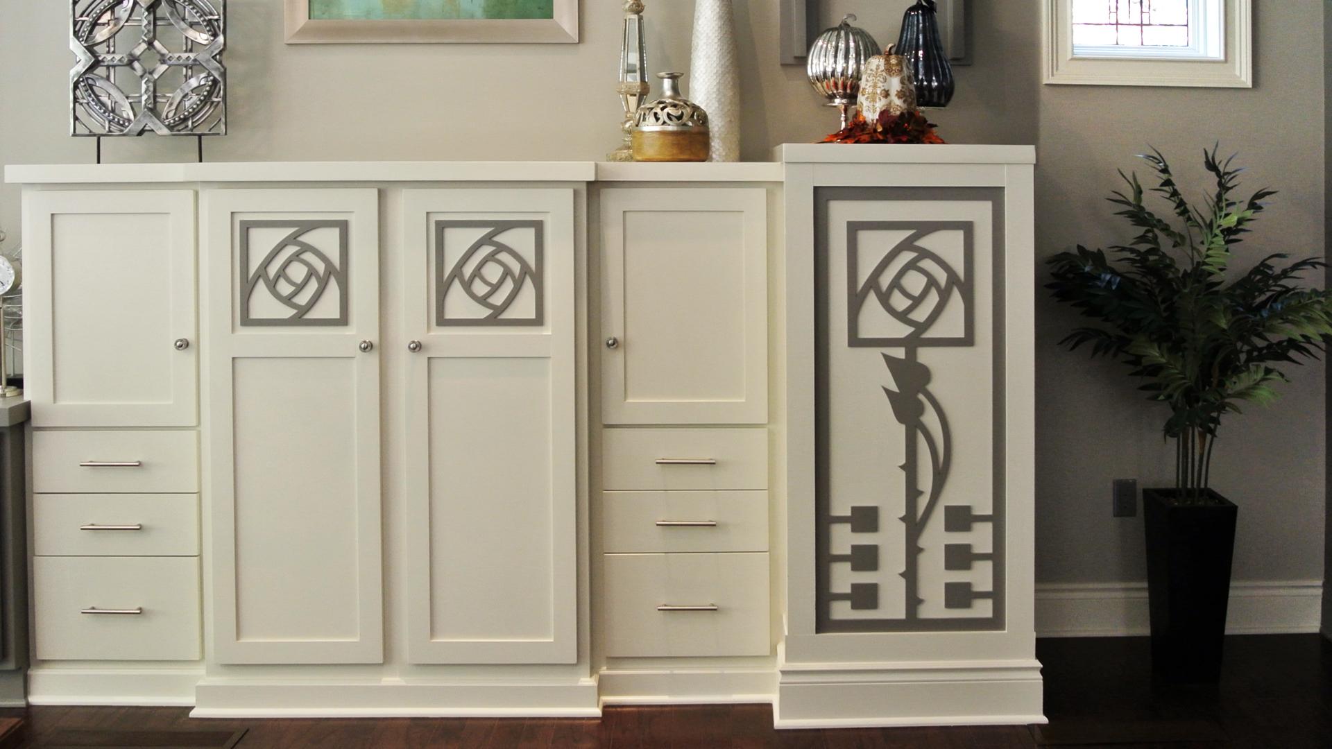 Moon Township, PA - Julia Wilhelm  Custom Rose pattern, Decorative cabinet panels