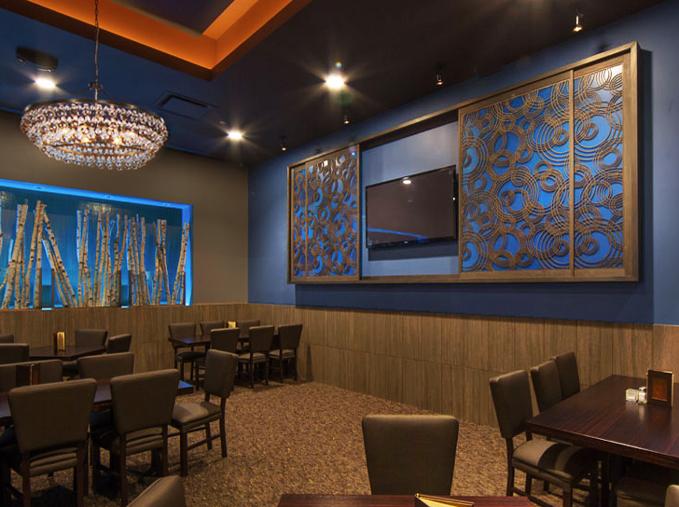 Twigs Bistro, Spokane Valley, WA - Paint Room Studios  Rain on Water, TV doors