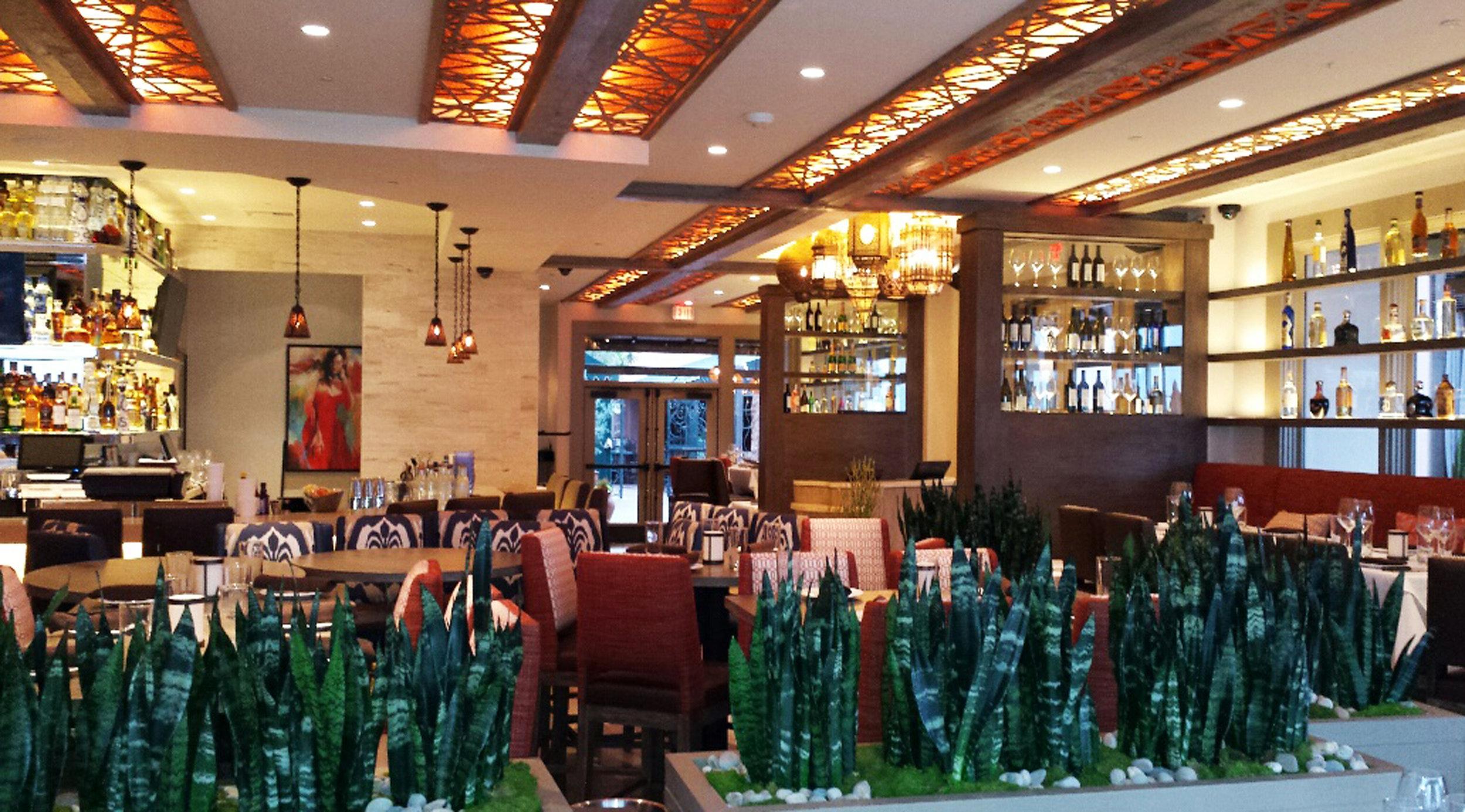 Red O Restaurant, Santa Monica, CA - Commercial Custom Seating  Palomar, Backlit ceiling panels