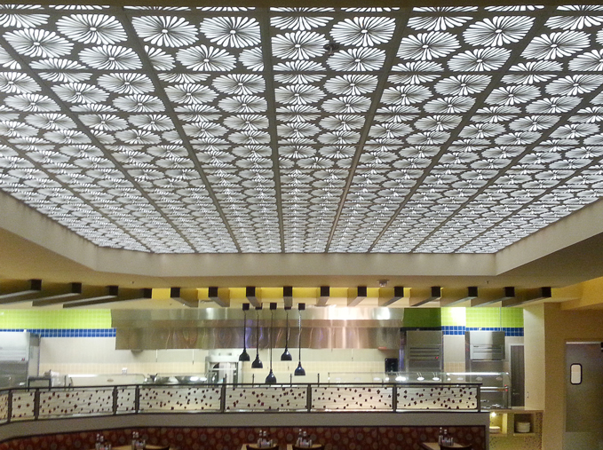 Lebanon Gaming and Raceway, Cincinnati, OH - Valley Interior Systems  Daisies pattern, backlit ceiling panel