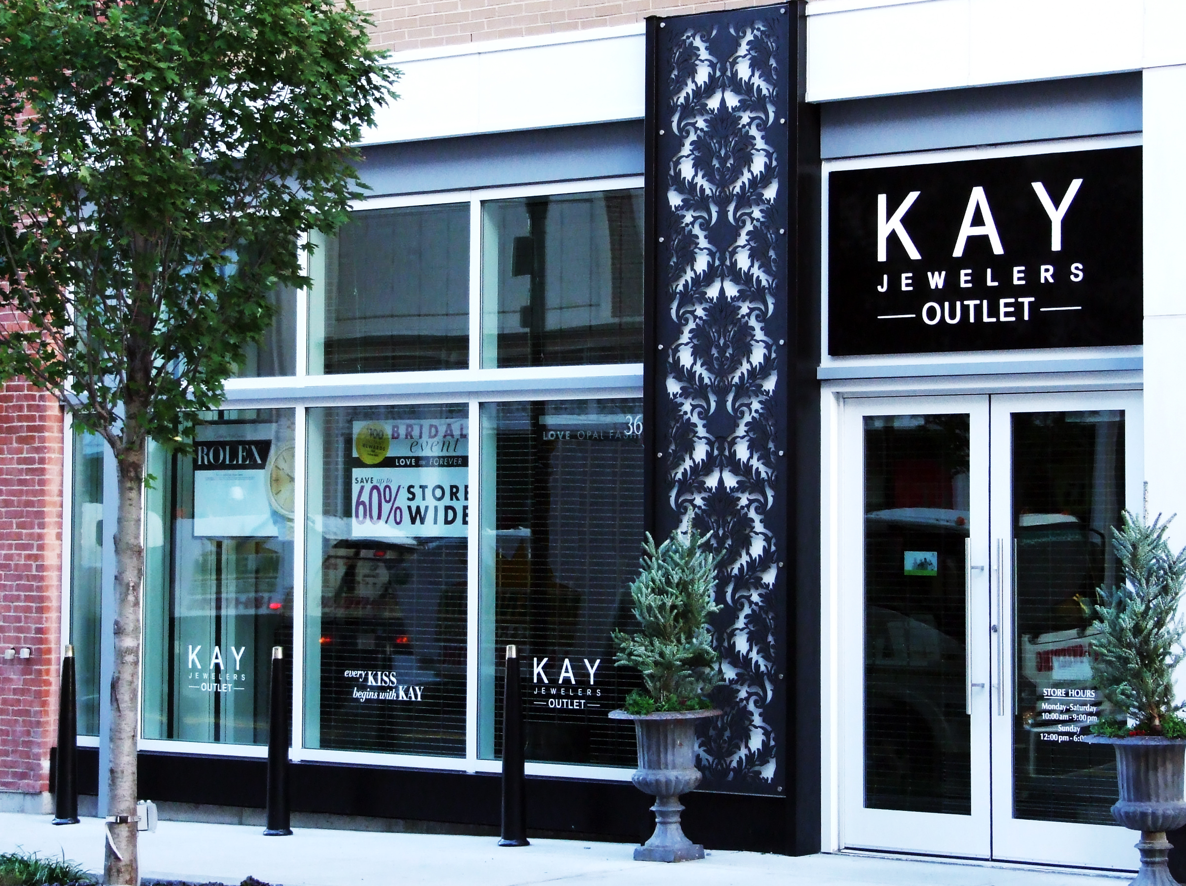 Kay Jewelers, Commonwealth Building, Assembly Row Storefronts, Quincy, MA   Damask pattern, Outdoor decorative panel