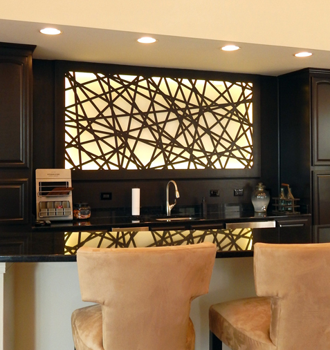 Barrett Design, The Carlton at Greenbrier, Chesepeake, VA   Palomar pattern, backlit laser cut wall panel