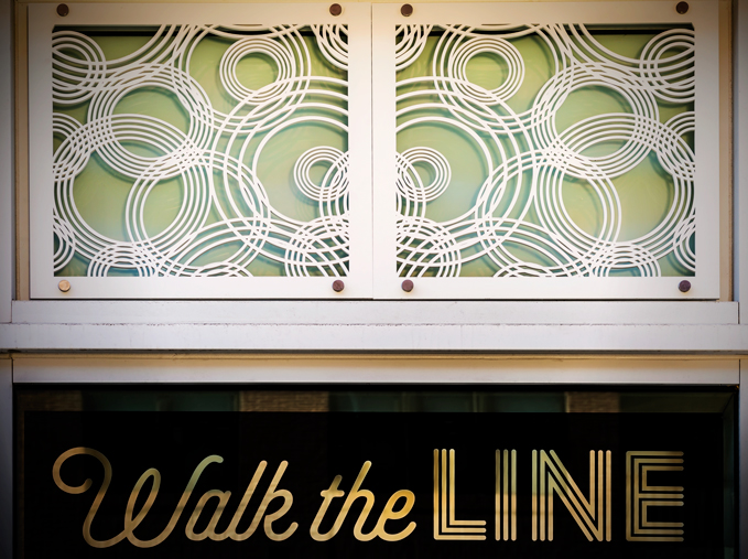 Charlotte Russe storefront, Commonwealth Builders, Assembly Row, Quincy, MA   Rain On Water pattern, outdoor laser cut wall panel