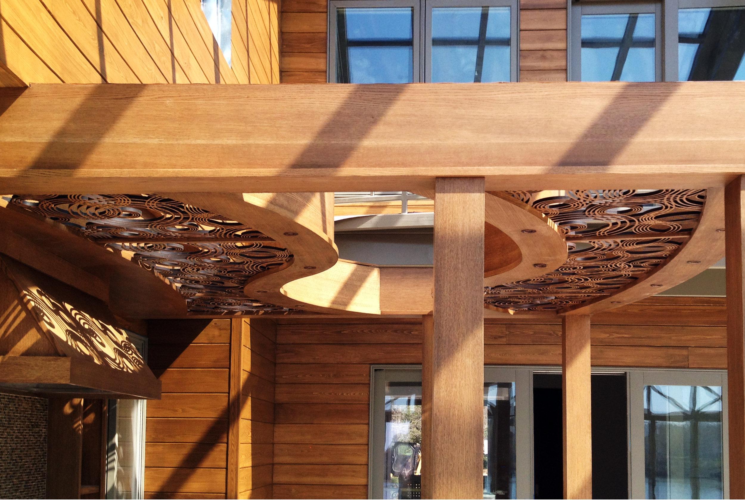 Private Residence, Irvington, VA  - Ruffino Cabinetry/Teri Wesselman, ASID - OMNI Design  Rain On Water pattern, decorative outdoor panels