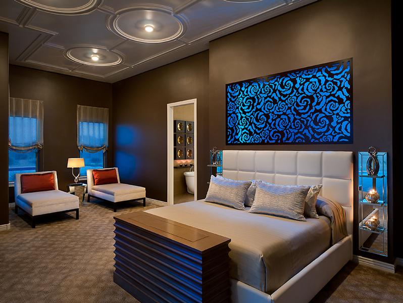 Residence, Angelica Henry Design, Gilbert, AZ   Roses pattern, backlit headboard