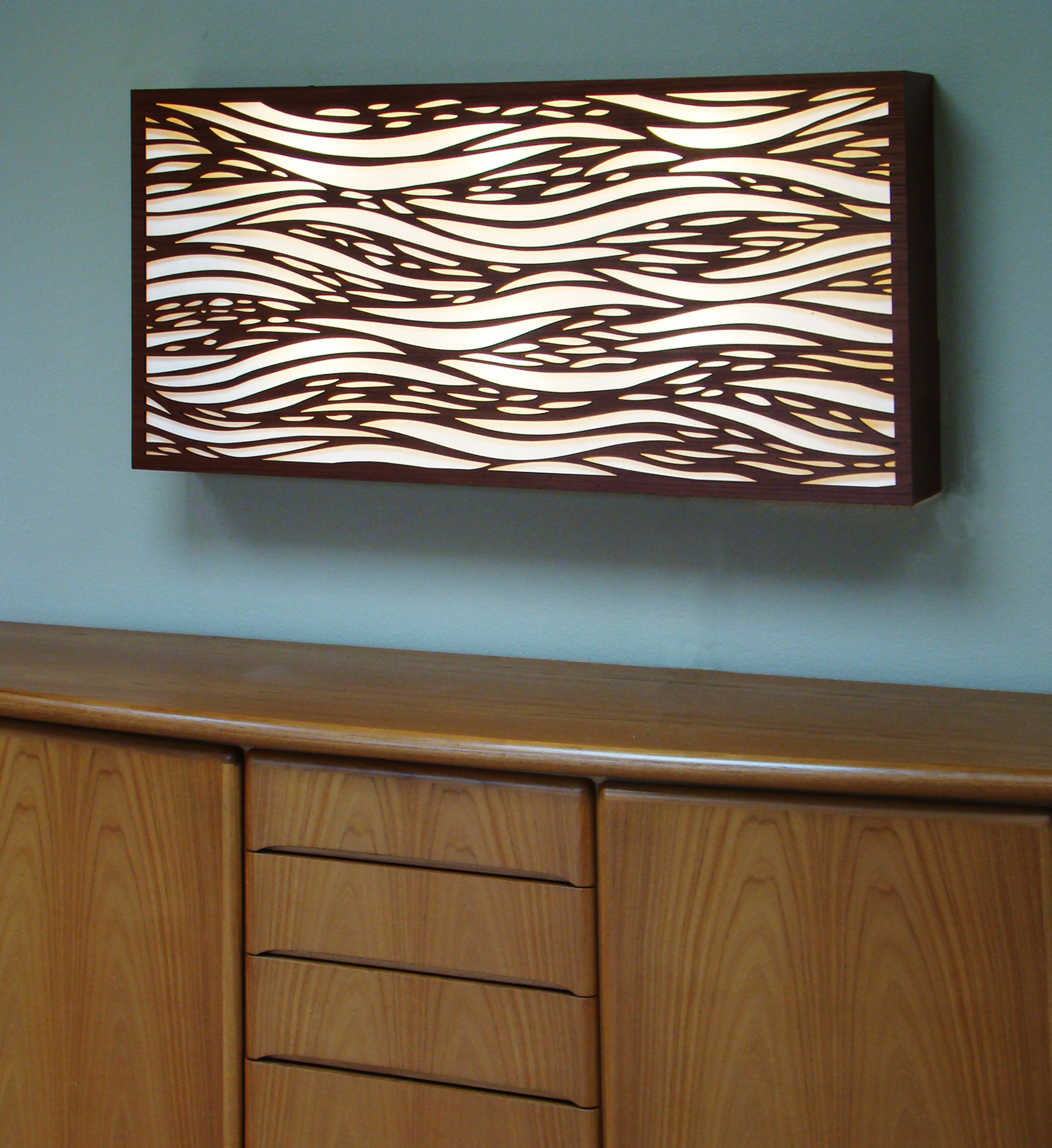 Private Residence, Santa Rosa, CA   Waterfall pattern, backlit laser cut wall panel