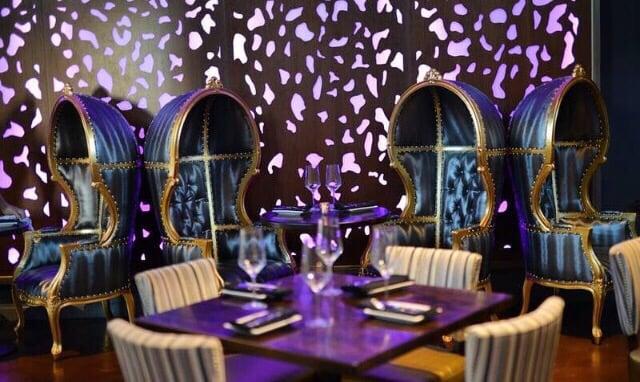 OPM Restaurant, Huntington Beach, CA - Julie Khuu Interior Design  Dappled Light Uniform, backlit panels