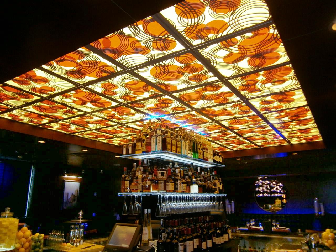 Ocean Prime Restaurant,Columbus, OH  - Buckeye Construction  Rain on Water, backlit ceiling panels