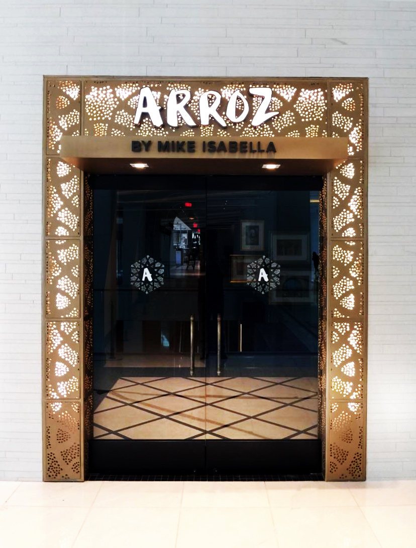 Arroz by Mike Isabella, Wasington, DC - Hospitality Construction Services  Seville, backlit wall partition and signage