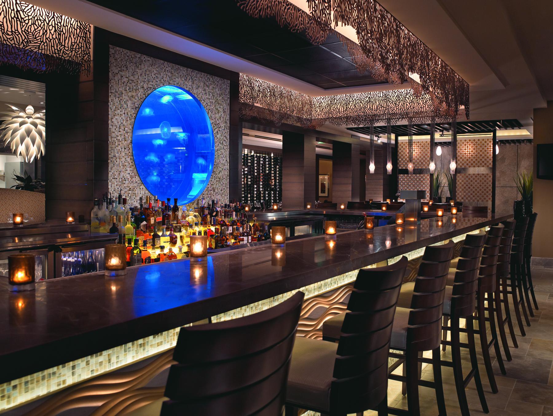 Seagate Hotel, Delray Beach, FL   Sea Fan pattern, backlit bar crown
