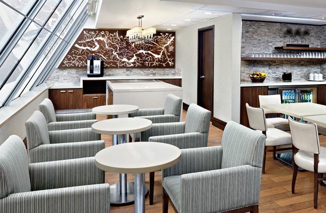 Sheraton Ottawa Hotel, Ottawa, CANADA  - HCA Architects  Custom Ottawa River Panel, backlit wall panel