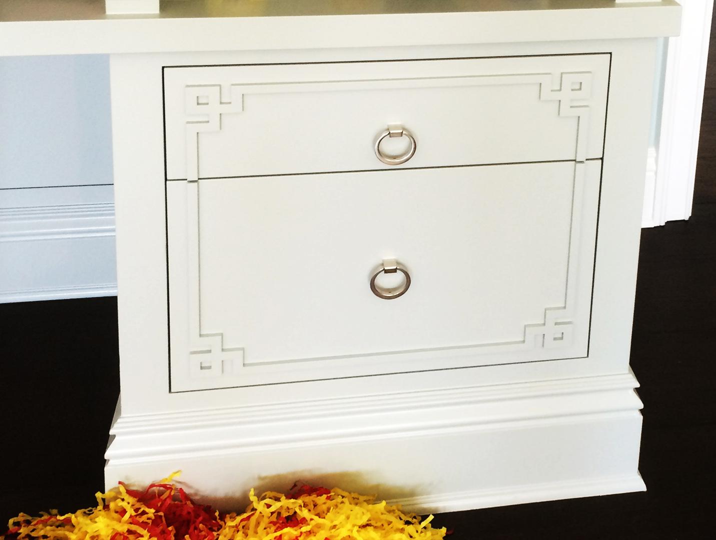 Custom face, laser cut decorative detail for furniture