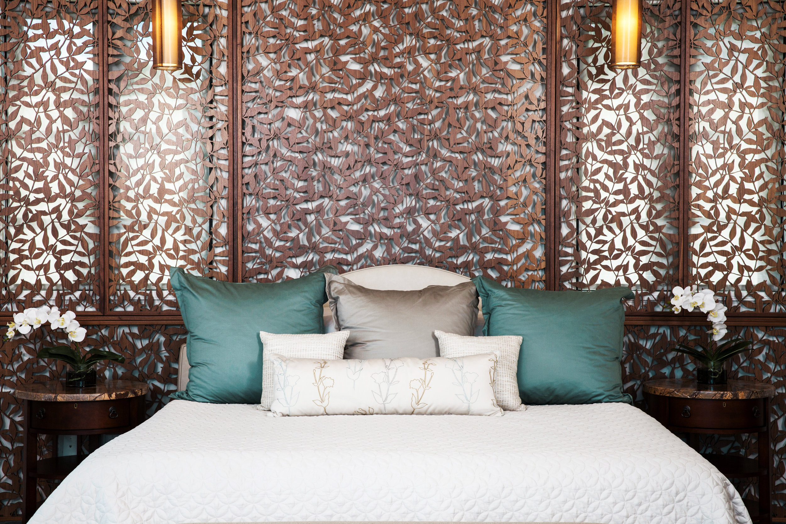 Morgante Wilson Architects  - Residence, St. John, FL  Heavenly Bamboo, Decorative headboard and window screen
