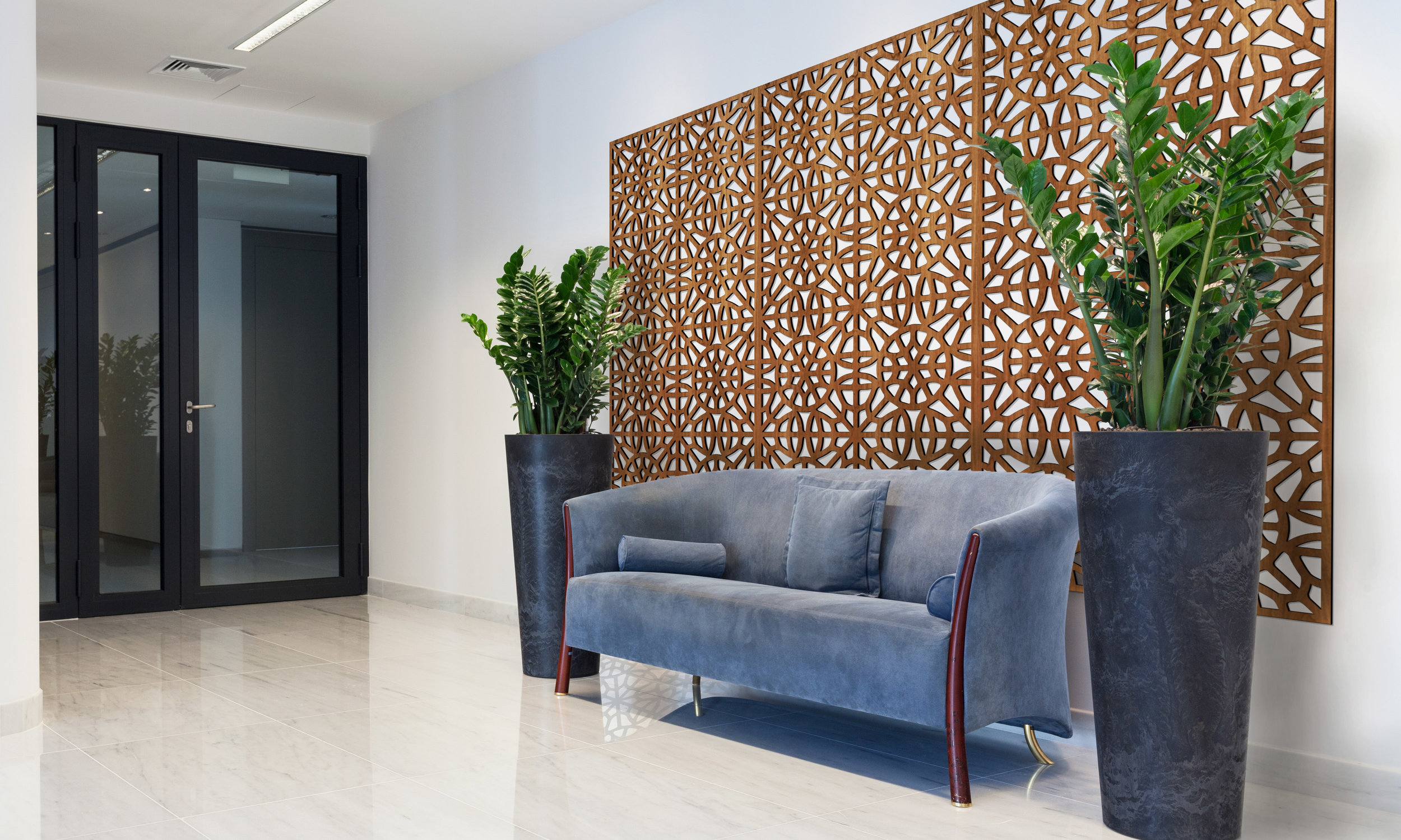 Installation Rendering A   Brooklyn decorative office wall panel - shown in Cherry wood