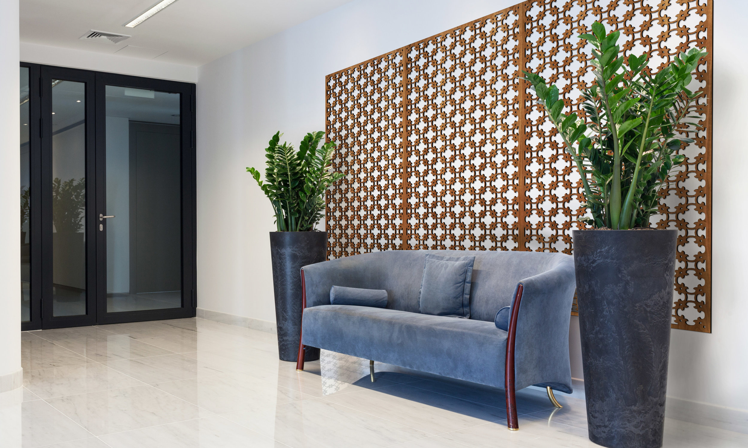 Installation Rendering A   Camphor decorative office wall panel - shown in Cherry wood