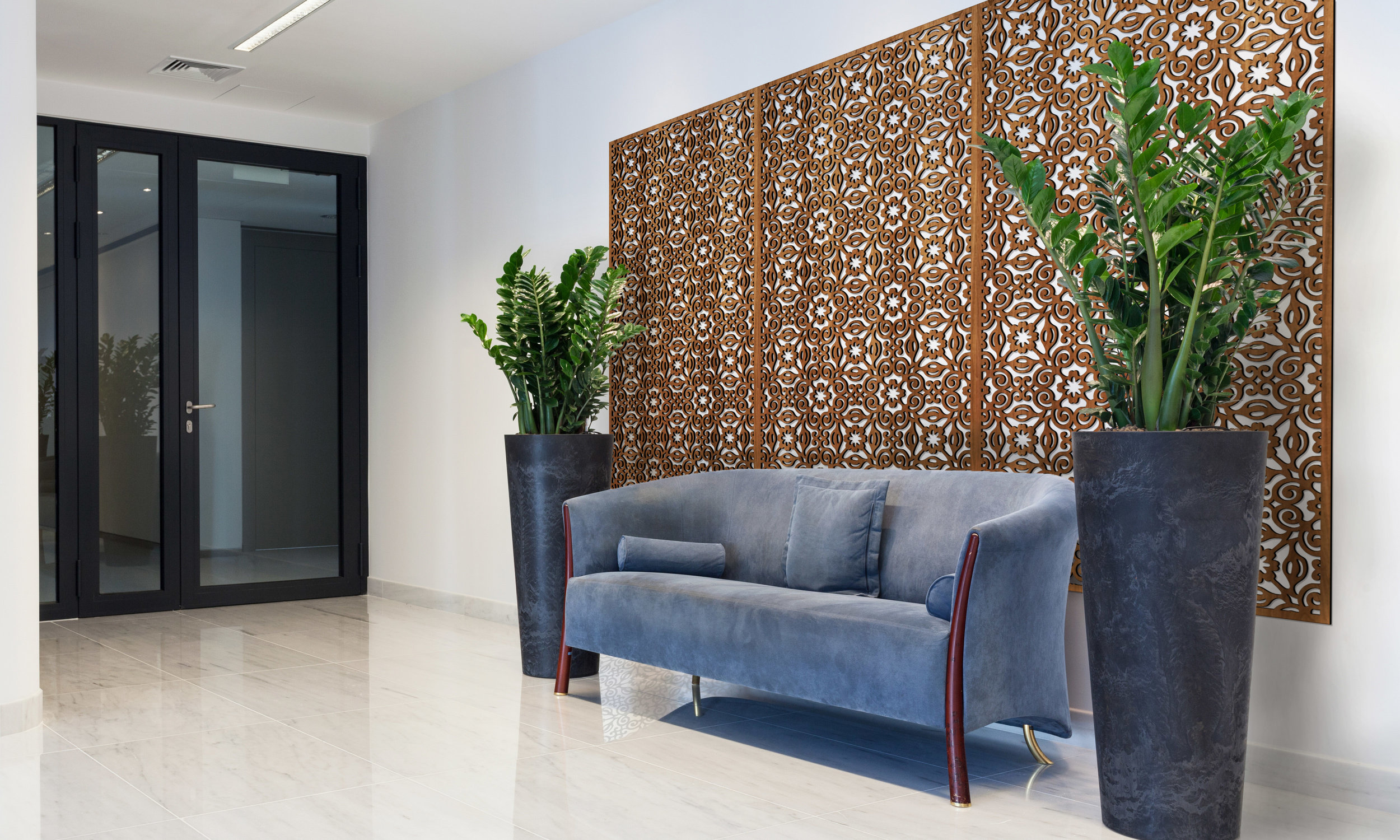 Installation Rendering A   Carmel decorative office wall panel - shown in Cherry wood